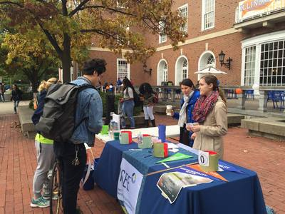 Katie Watson represents the Institute for Sustainability, Energy, and Environment in front of the Illini Union