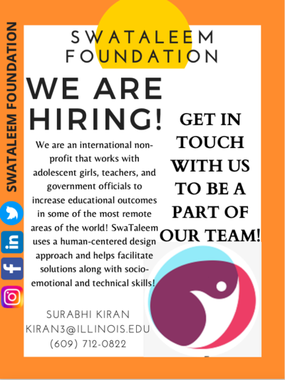 Hiring Interns for Summer 2021 - SwaTaleem Foundation