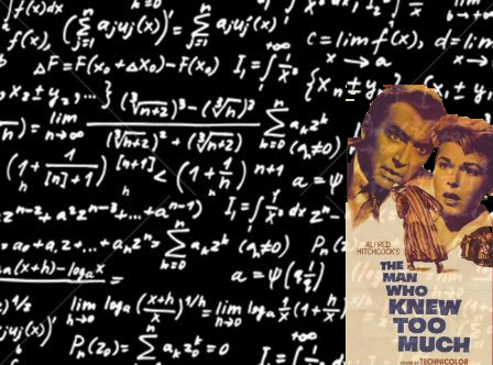 A blackboard full of equations, for