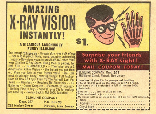 Ad for X-Ray Specs from the 1960s, prototypes of Google Glass