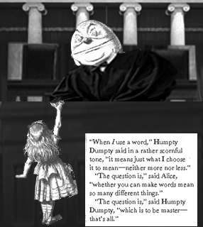 Humpty Dumpty explains the nature of meaning to Alice