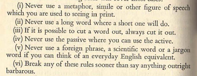 Rules from Orwell