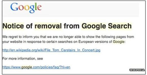 Google Europe notice of link deletion