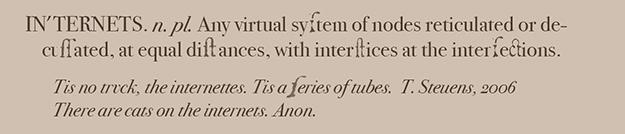 Dr Johnson defines internets