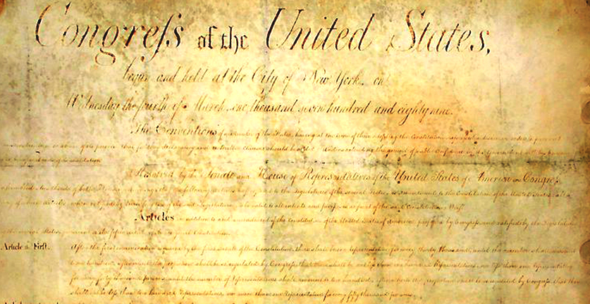 The First Amendment, from North Carolina's copy of the original Bill of Rights