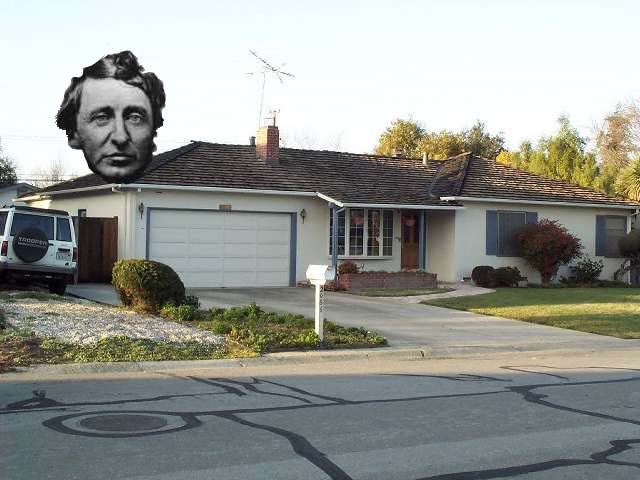 The image of Thoreau floats above the garage where Steve Jobs put together the first Apple computer