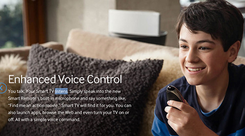 """Screen cap from online ad for Samsung Voice Control—""""You talk. Your Smart TV listens""""—showing a child talking happily to his television set. With Smart TV, you're always """"on the air."""""""