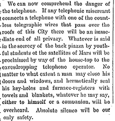 """Excerpt from """"The telephone unmasked."""" New York Times, Oct. 13, 1877, p. 4."""