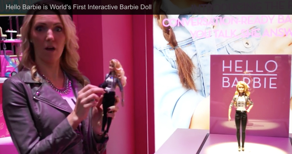Screen cap from promotional video of Hello Barbie being demonstrated at the New York Toy Fair.