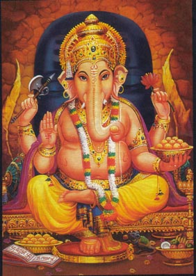 Ganesha, the Hindu god with an elephant head on a boy's body