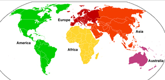 Map of the world showing 5 continents, from Wikepedia France