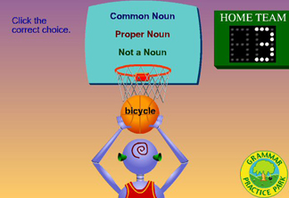 another noun game shows a basketball hoop and asks if