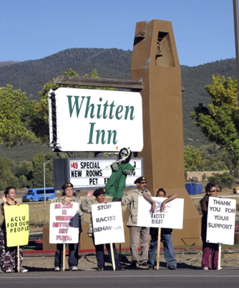 Protestors outside the Whitten Inn