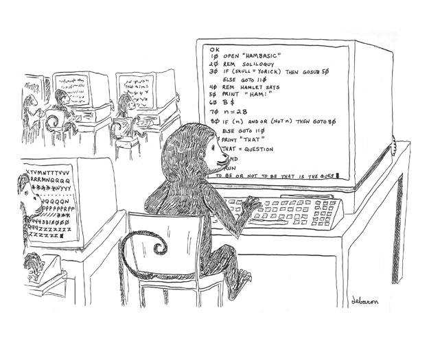 Cartoon showing an infinite number of monkeys chained to an infinite number of computers, typing not Hamlet, but Hamlet BASIC