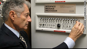 Leonard Kleinrock today demonstrating the Interface Message Processor that sent the first command over the internet