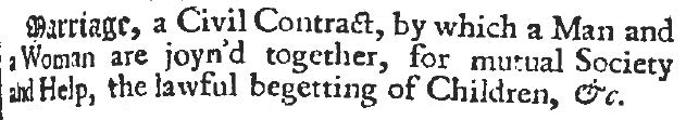 Edward Phillips definition of marriage, 1706