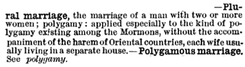 Century Dictionary 1891, plural marriage