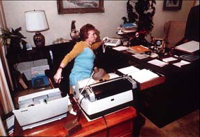 Rose Mary Woods demonstrating how she might have erased a Watergate tape by accident