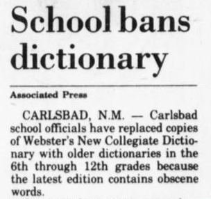 Carlsbad, NM, bans dictionary in 1982