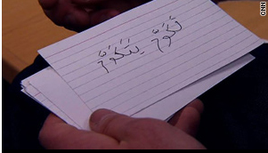Nick George, who took three years of Arabic in college, says he made these flash cards -- the English translation is on the other side -- to help him read Arabic-language news sites
