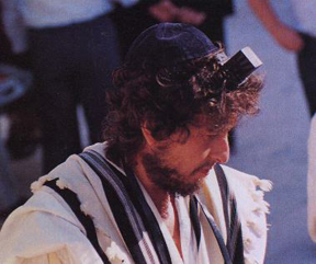 Bob Dylan, wearing tefillin and a tallis to pray