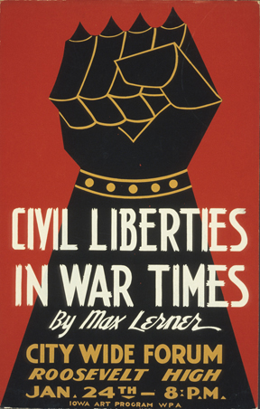 Poster made during WW II announces Max Lerner lecture on