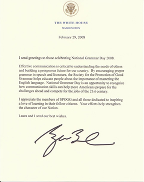 Letter from George W. Bush supporting National Grammar Day