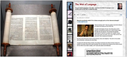 The torah, an ancient scroll still in use today (Library of Congress); and a web page using the scrolling format commonly found on the internet