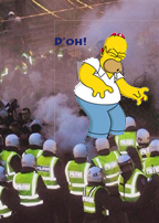 Estonian police surround Homer Simpson,  who is uttering his  catchphrase,