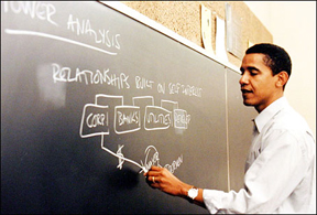 Barack Obama teaching Con Law at the University of Chicago, home of conservatives, big words, and long sentences