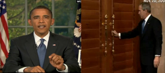 Pres. Obama delivering his first Oval Office speech, and Pres. Bush trying to open a door that does not open