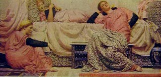 19th century painting showing reading aloud by the Scot Albert Moore