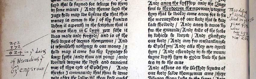 a fifteenth-century copy of Caxton's edition of the Legenda Aurea shows the annotations of several readers.