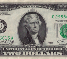 Thomas Jefferson one the two-dollar bill