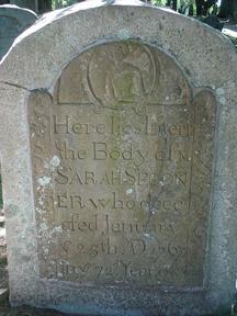 Tombstone of Ms. Sarah Spooner