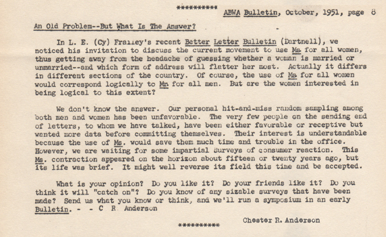 Comment on Ms. in the American Business Writing Association Newsletter, Oct. 1951