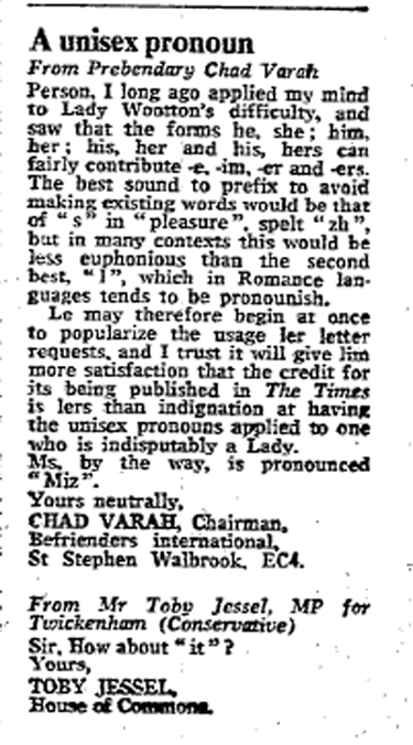Unisex pronoun, 1978