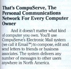 A CompuServe ad from 1983 with Email trademarked