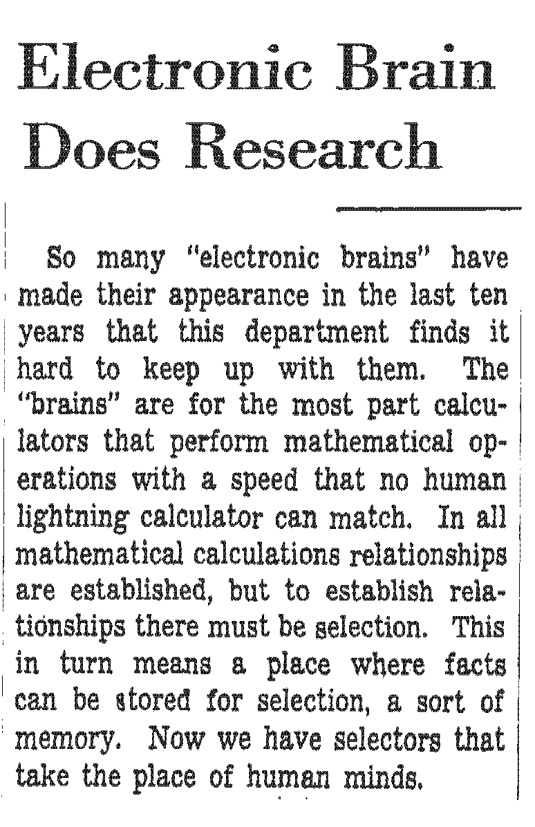 New York Times report on an Electronic Brain that can do research