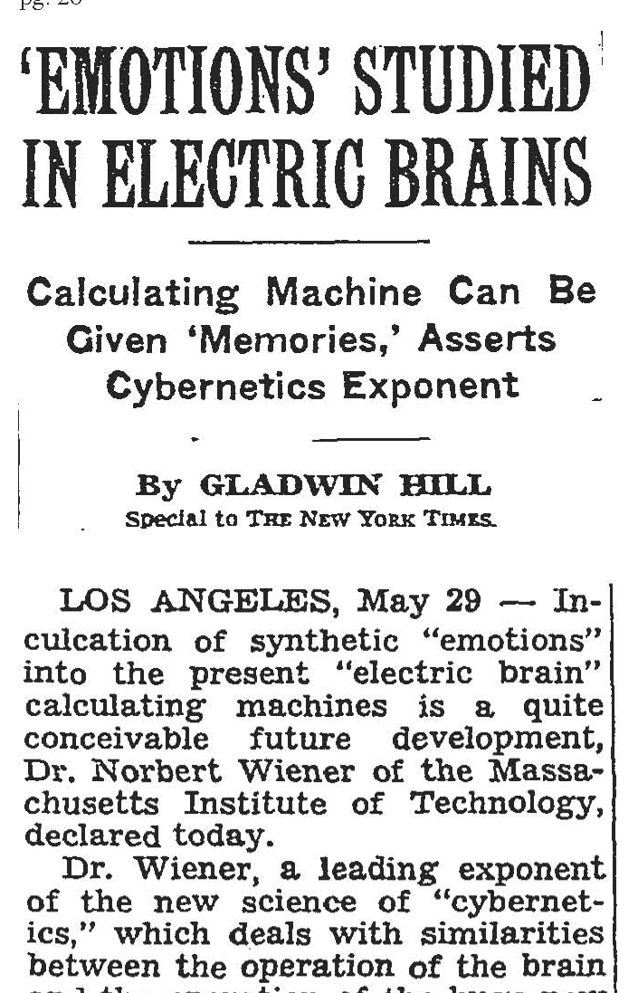 NY Times article from 1949 about computers learning emotions