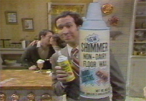Screen grab from Saturday Night Live skit for Shimmer, a floor wax and a dessert topping