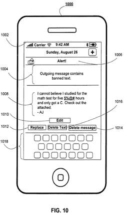 figure 10 from Apple's patent application shows an iPhone with objectionable text marked for revision or deletion
