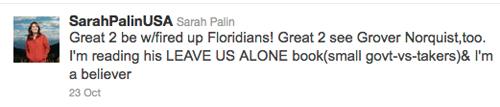 Sarah Palin tweet,