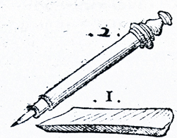 first known image of a pencil, from 1565