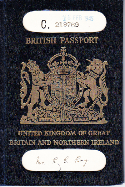 1945 British Passport, with royal seal