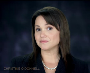 screen shot of Christine O'Donnell campaign video in which she said,
