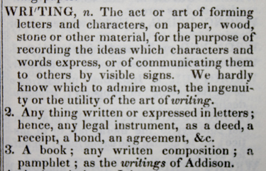 Noah Webster's definition of writing