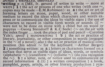 Webster's Third: definition of writing