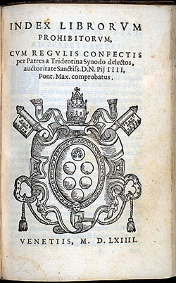 Image of the Index Librorum Prohibitorum, the Index of Prohibited Books