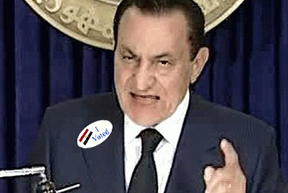 Hosni Mubarak, addressing the nation on Egyptian TV the night before he resigned, wears an